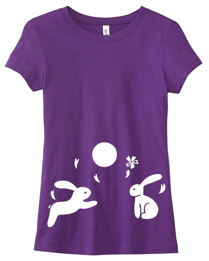 Japanese Moon Bunnies Ladies T-shirt - Purple