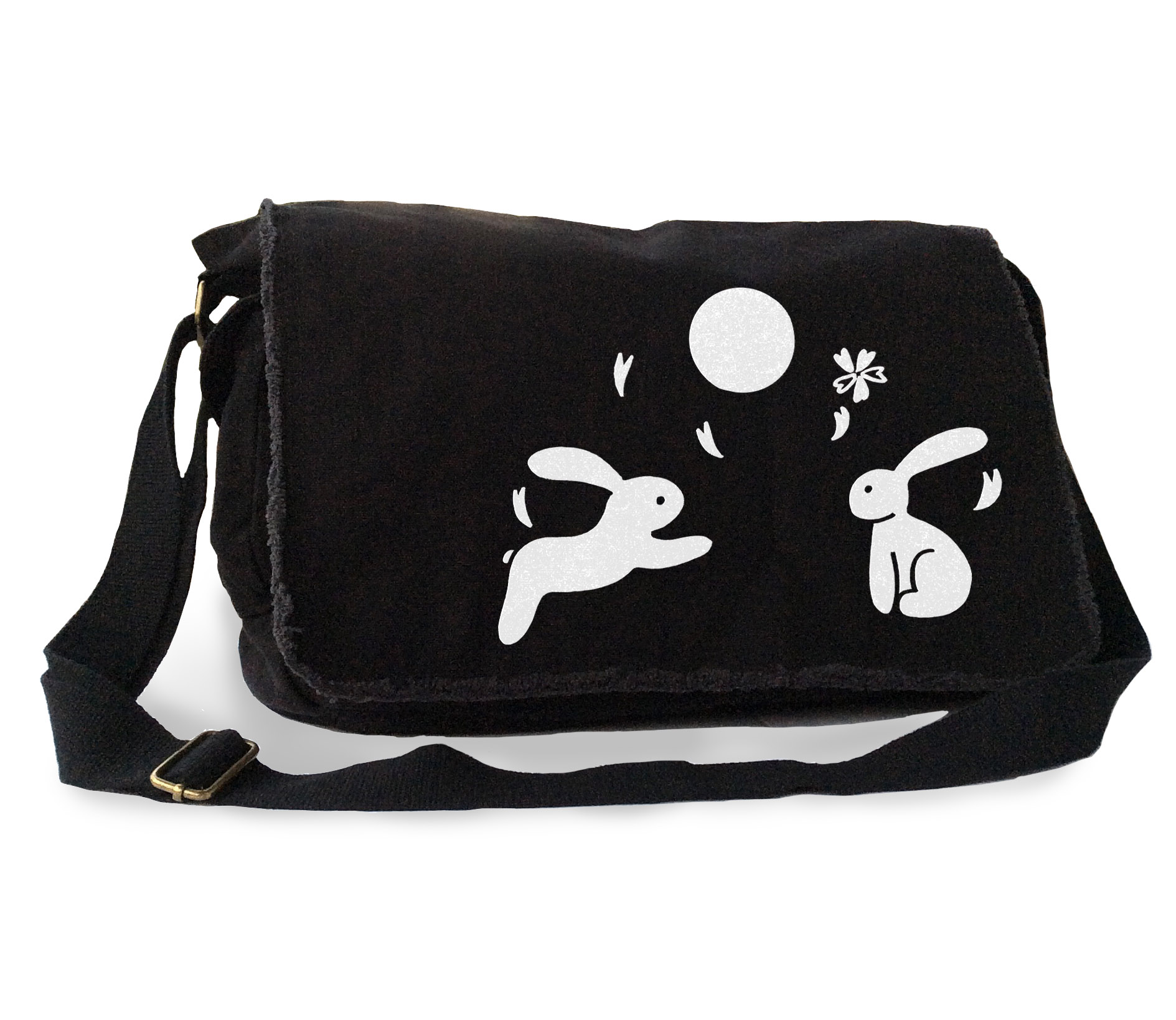 Asian Moon Bunnies Messenger Bag - Black