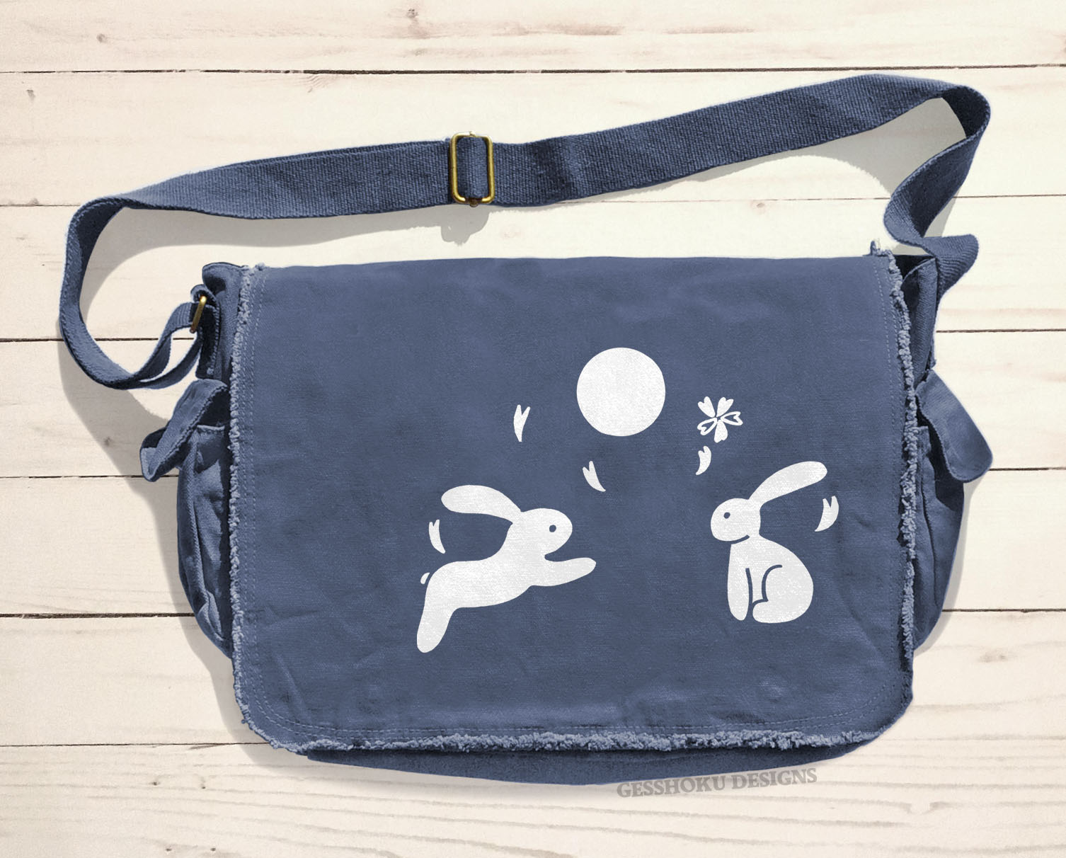 Asian Moon Bunnies Messenger Bag - Denim Blue