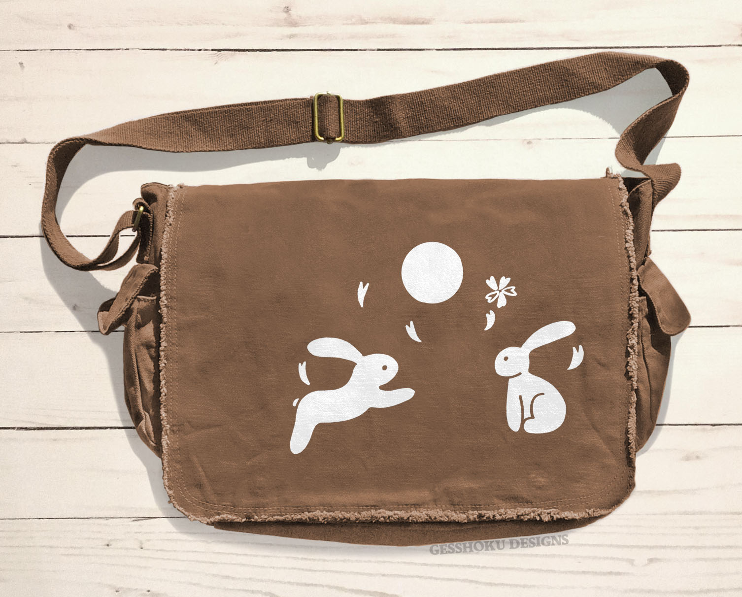 Asian Moon Bunnies Messenger Bag - Brown