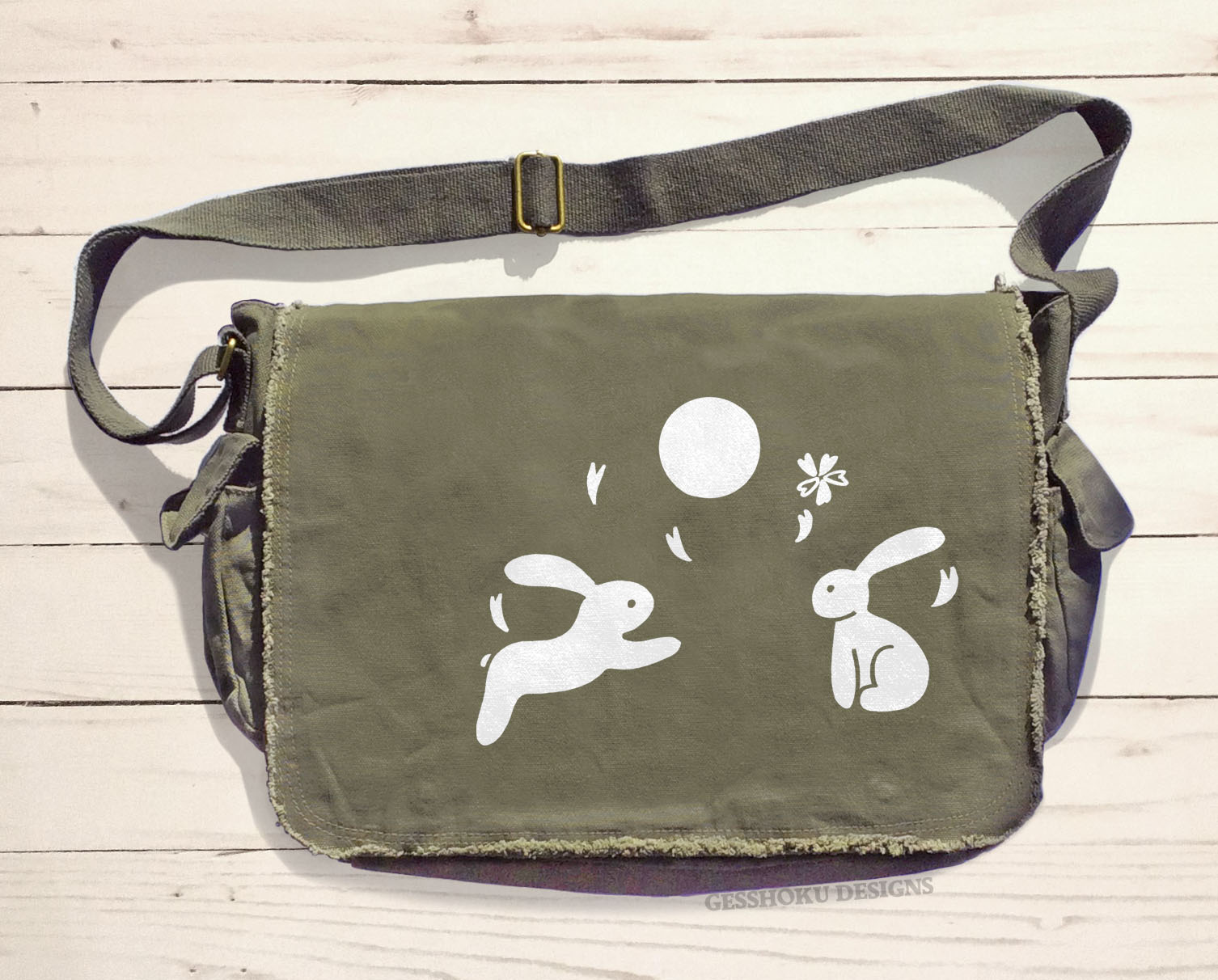 Asian Moon Bunnies Messenger Bag - Khaki Green