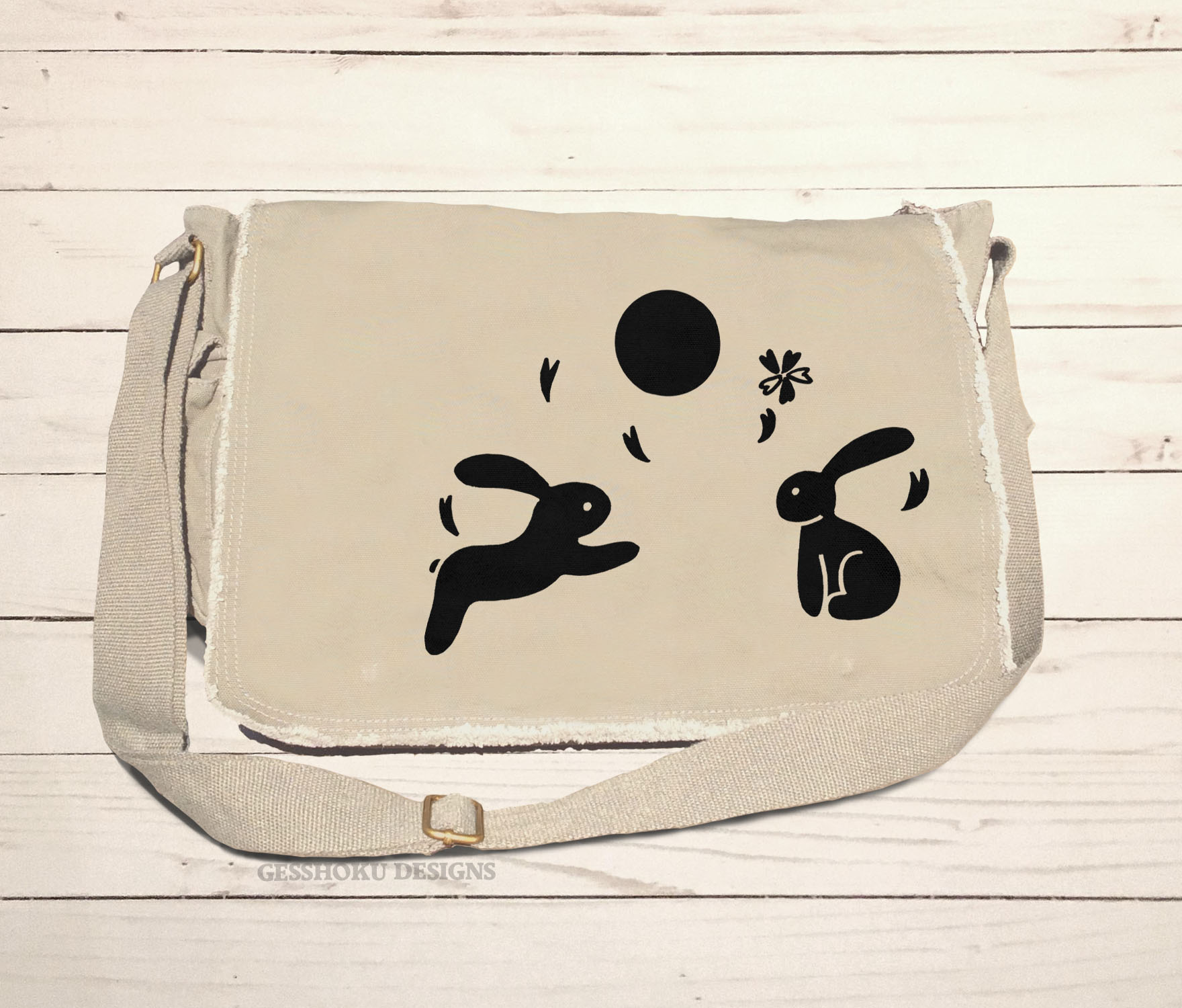 Asian Moon Bunnies Messenger Bag - Natural