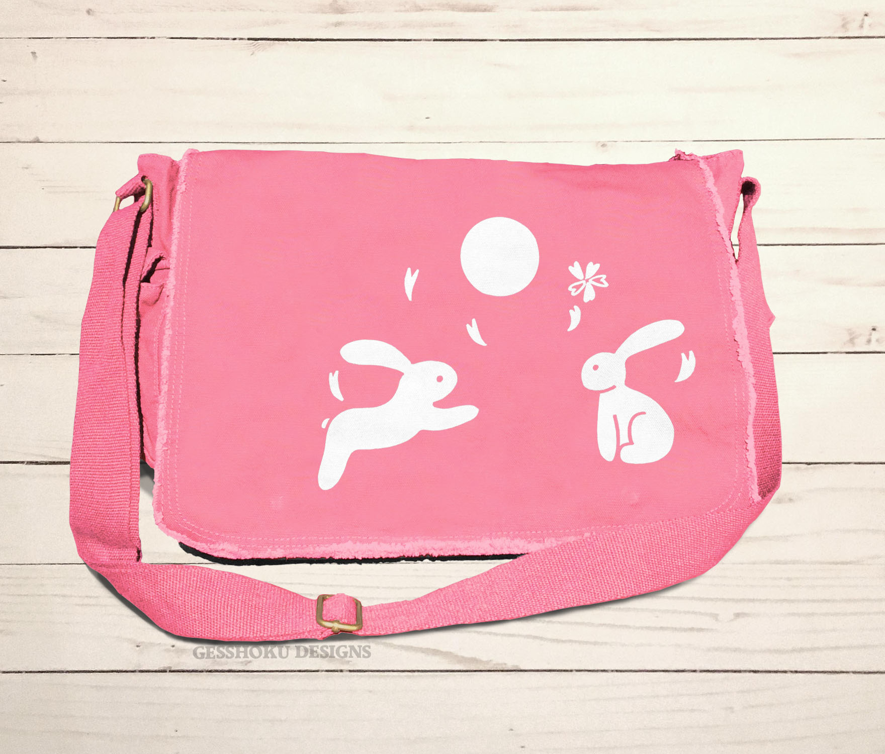 Asian Moon Bunnies Messenger Bag - Pink