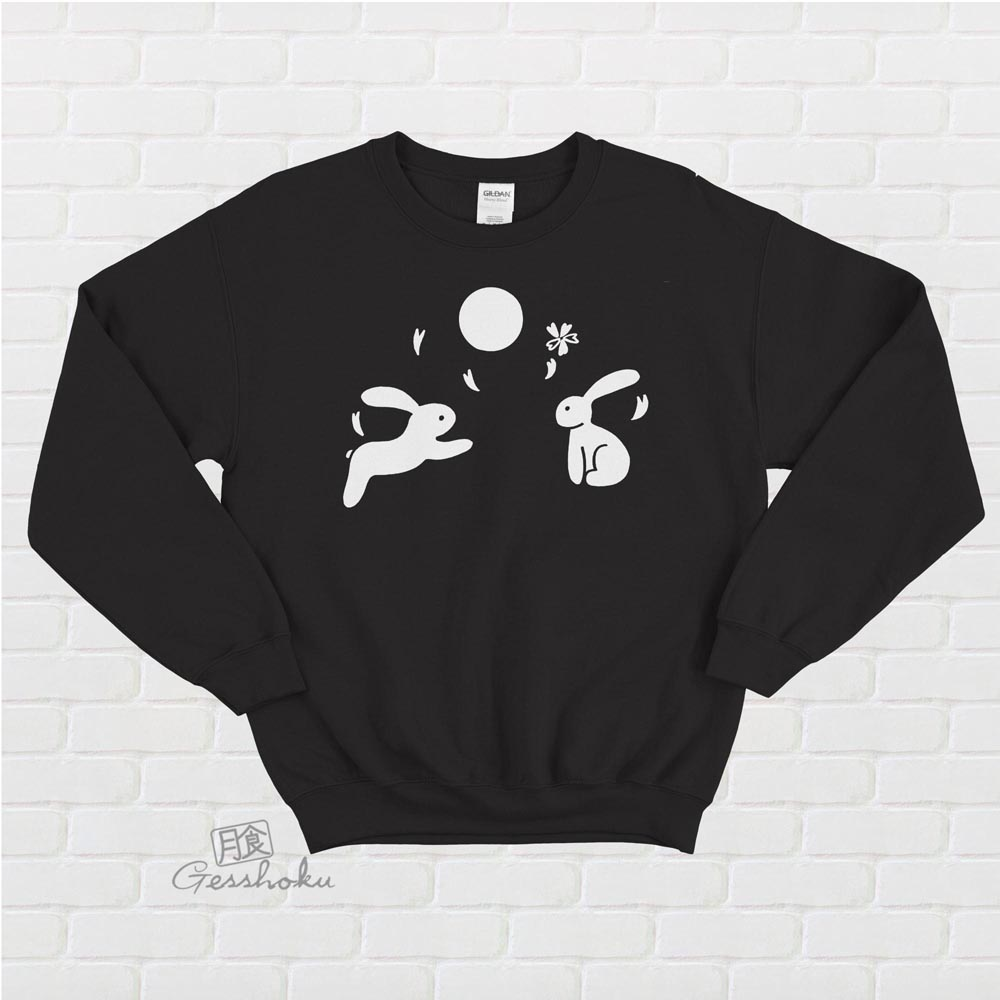 Japanese Moon Bunnies Crewneck Sweatshirt - Black