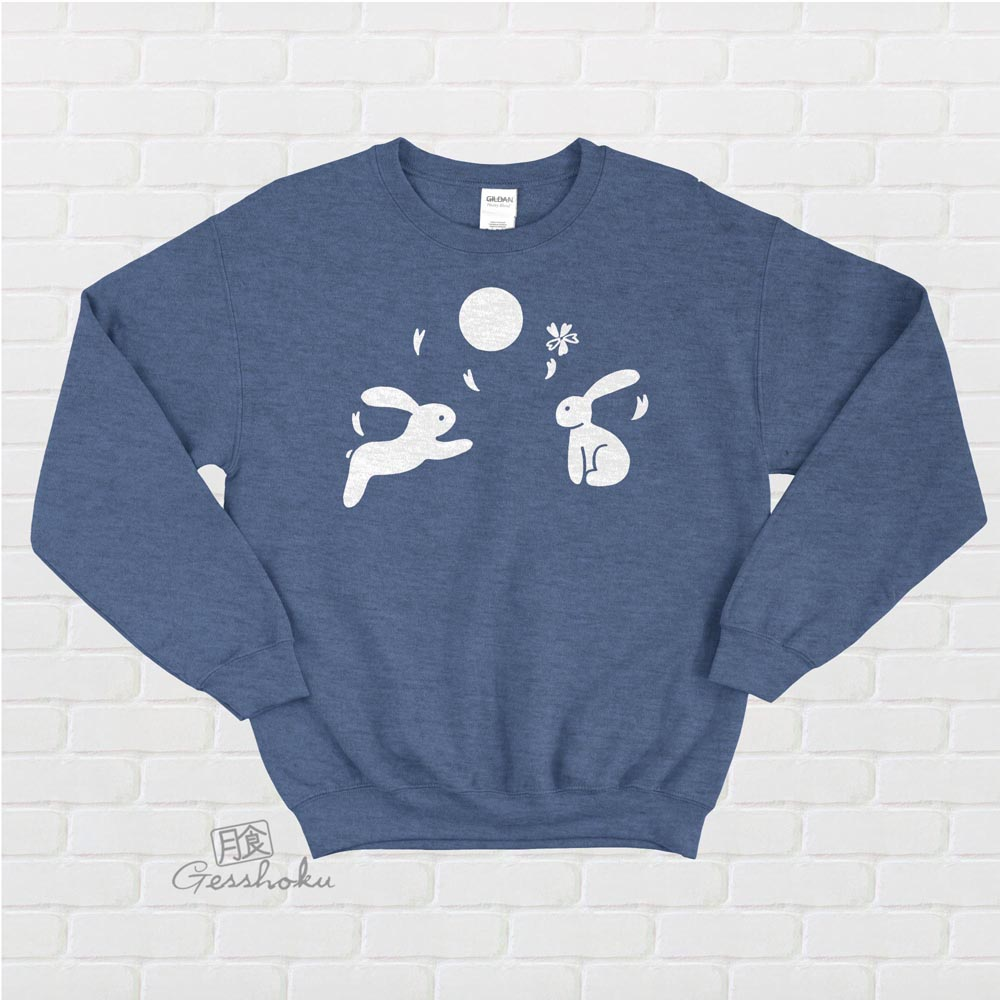 Japanese Moon Bunnies Crewneck Sweatshirt - Heather Blue