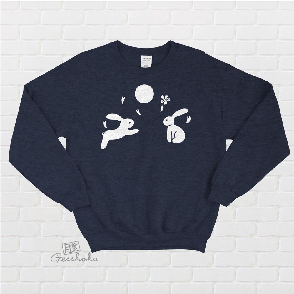 Japanese Moon Bunnies Crewneck Sweatshirt - Heather Navy