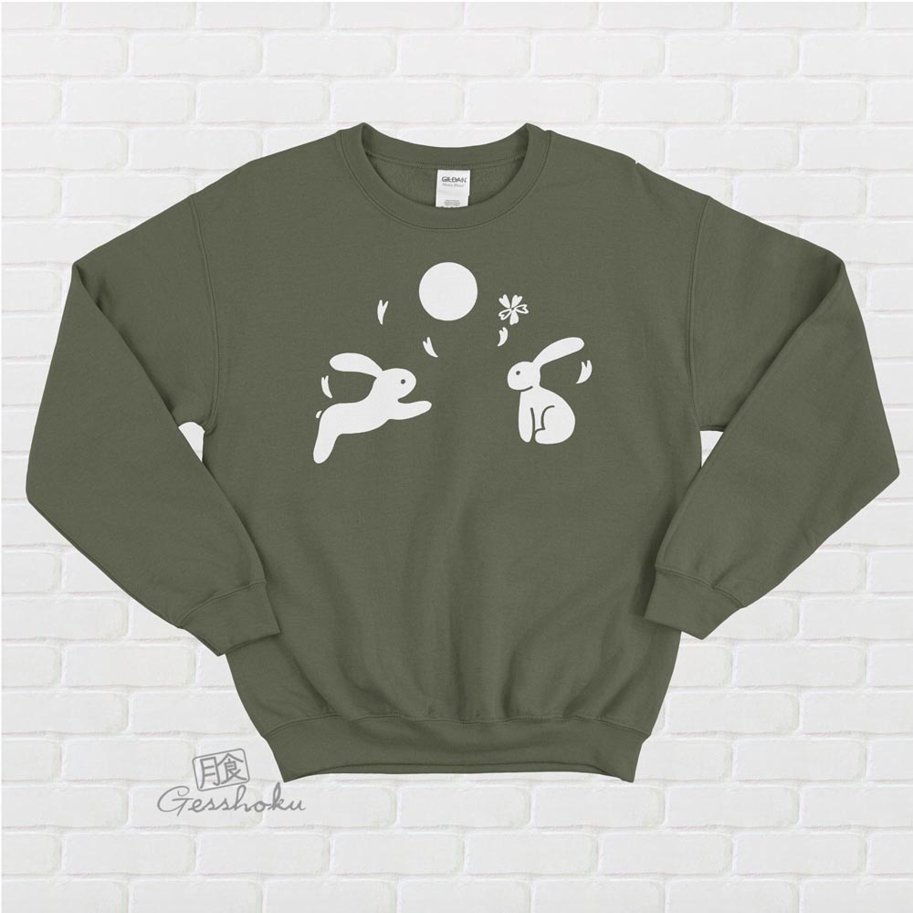 Japanese Moon Bunnies Crewneck Sweatshirt - Olive Green