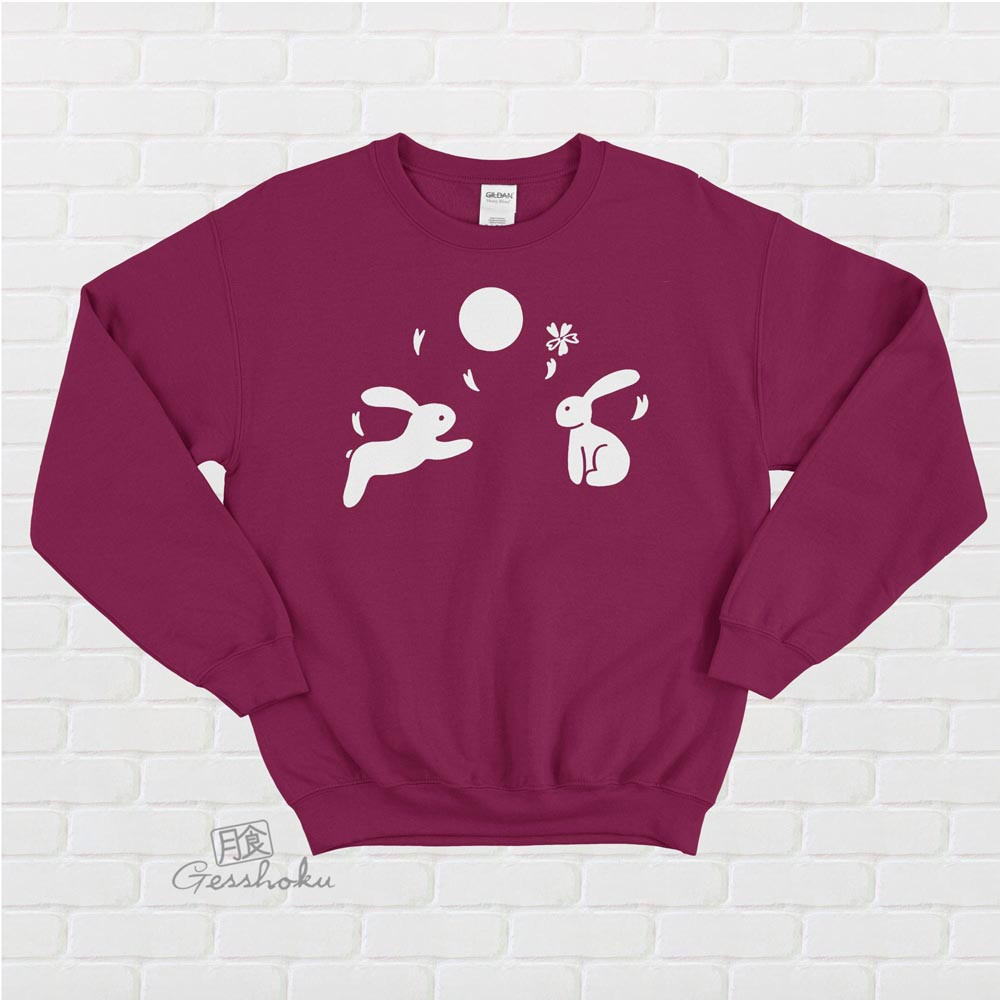 Japanese Moon Bunnies Crewneck Sweatshirt - Maroon