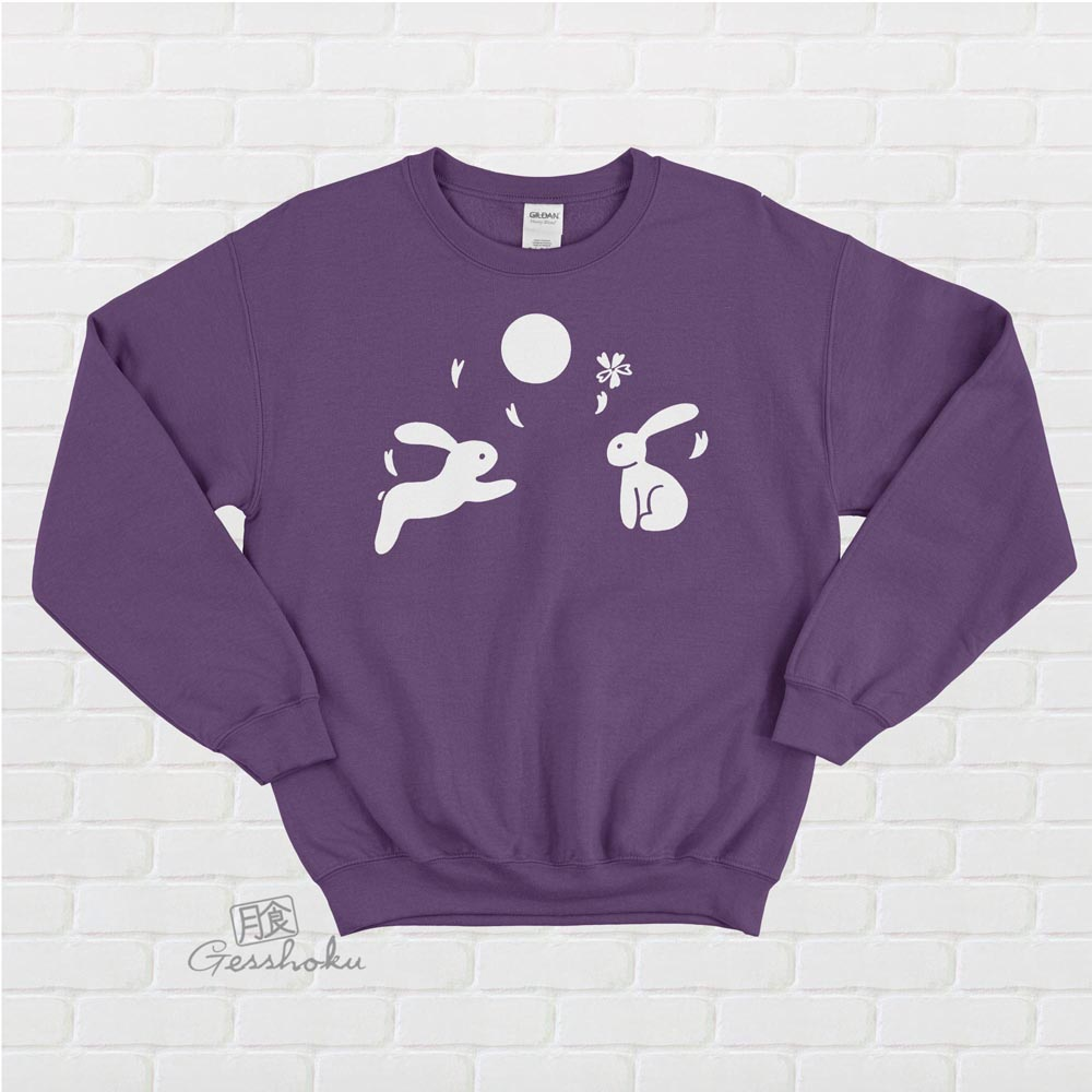 Japanese Moon Bunnies Crewneck Sweatshirt - Purple