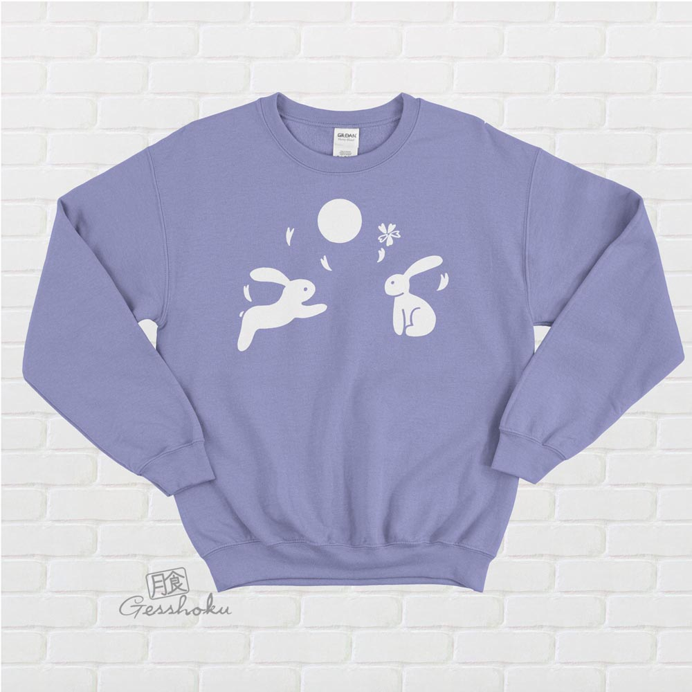 Japanese Moon Bunnies Crewneck Sweatshirt - Violet