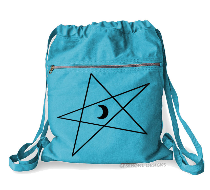 5-Pointed Moon Star Cinch Backpack - Aqua Blue