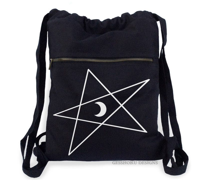 5-Pointed Moon Star Cinch Backpack - Black