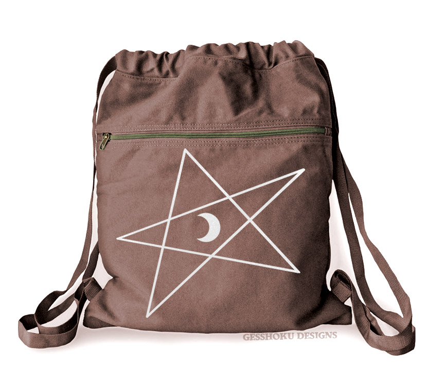 5-Pointed Moon Star Cinch Backpack - Brown