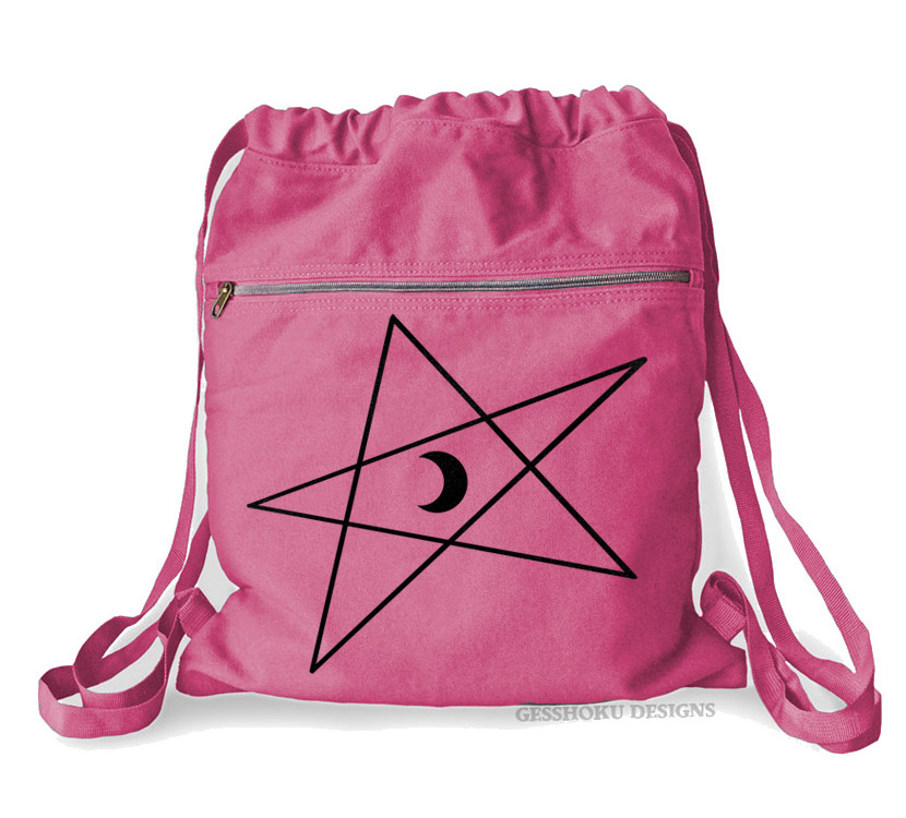 5-Pointed Moon Star Cinch Backpack - Raspberry