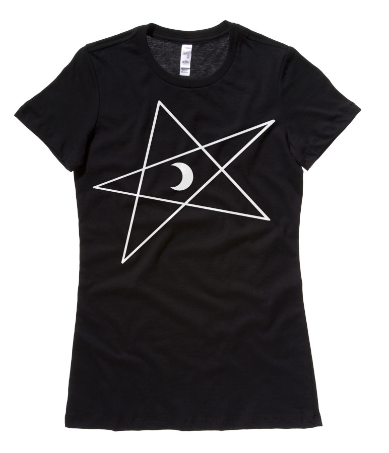5-Pointed Moon Star Ladies T-shirt - Black