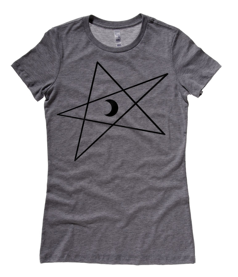 5-Pointed Moon Star Ladies T-shirt - Deep Heather Grey