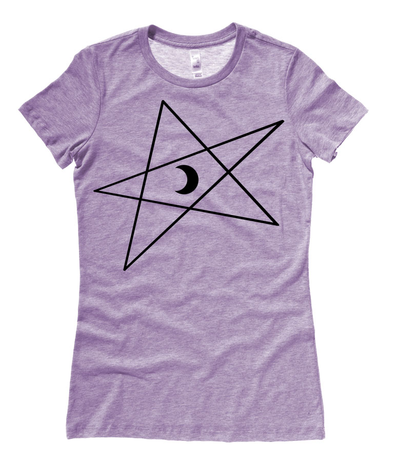 5-Pointed Moon Star Ladies T-shirt - Heather Purple