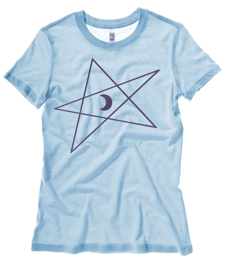 5-Pointed Moon Star Ladies T-shirt - Light Blue