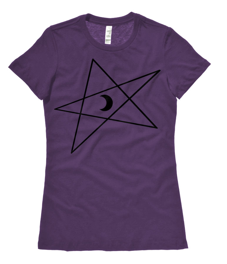 5-Pointed Moon Star Ladies T-shirt - Purple