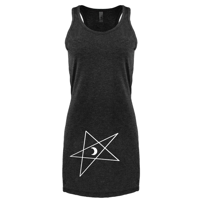 5-Pointed Moon Star Tank Dress - Heather Black