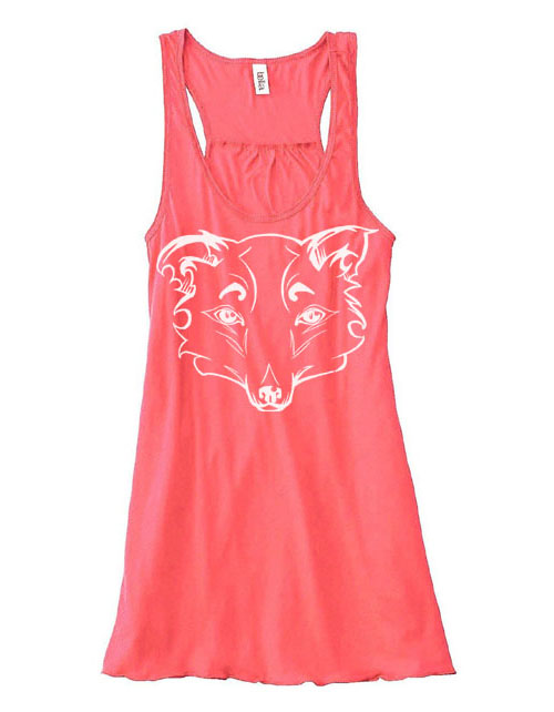 Mysterious Wise Kitsune Flowy Tank Top - Coral