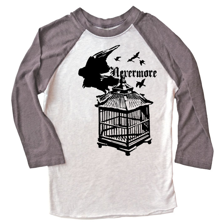Nevermore: Raven's Cage Raglan T-shirt - Grey/White