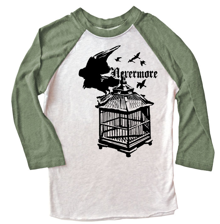 Nevermore: Raven's Cage Raglan T-shirt - Olive/White