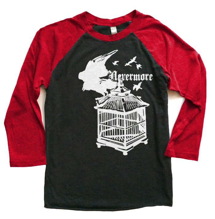 Nevermore: Raven's Cage Raglan T-shirt - Red/Black