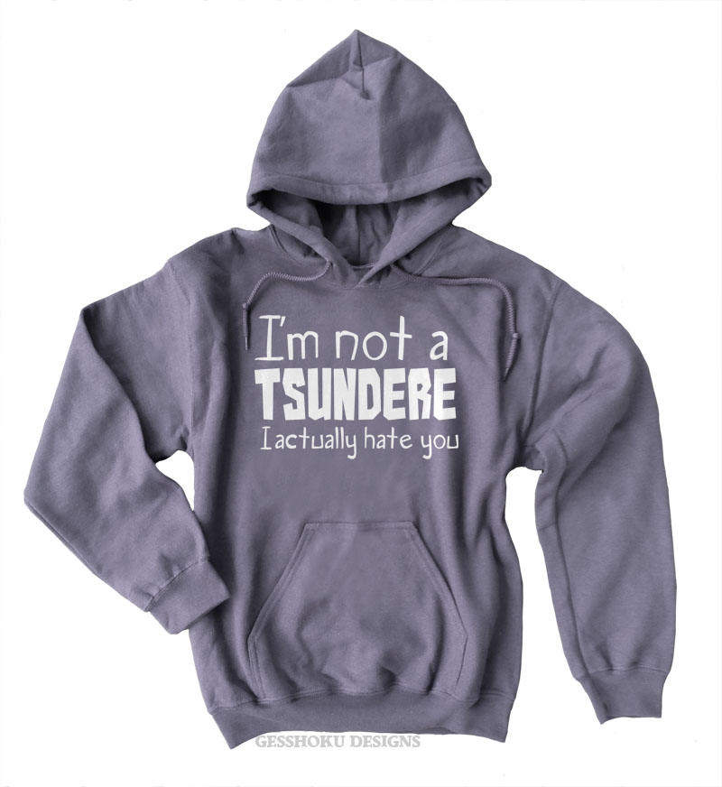 Not a Tsundere Pullover Hoodie - Charcoal Grey