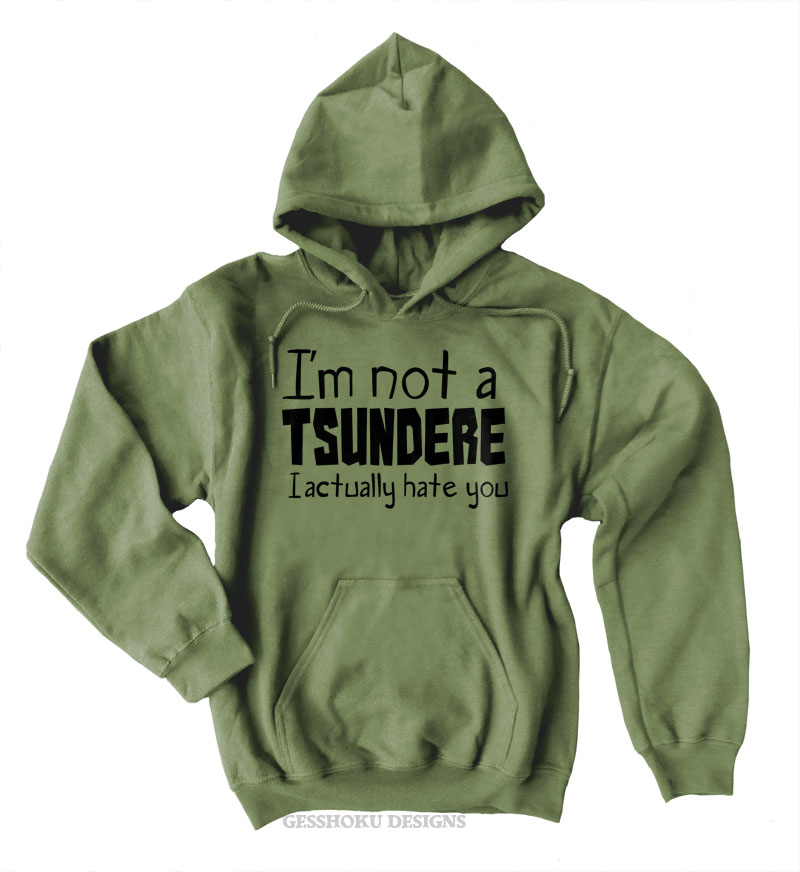 Not a Tsundere Pullover Hoodie - Olive Green