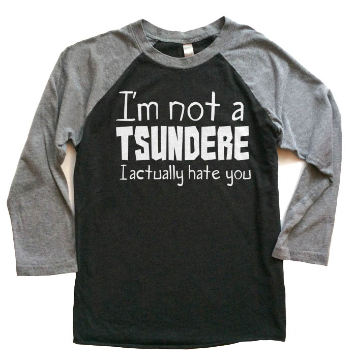 Not a Tsundere Raglan T-shirt 3/4 Sleeve - Grey/Black