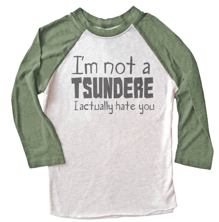 Not a Tsundere Raglan T-shirt 3/4 Sleeve - Olive/White
