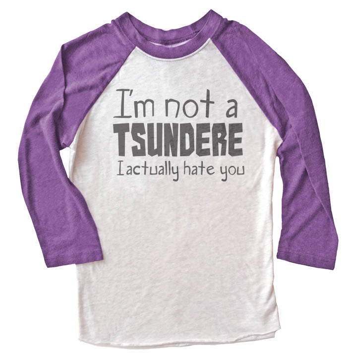 Not a Tsundere Raglan T-shirt 3/4 Sleeve - Purple/White