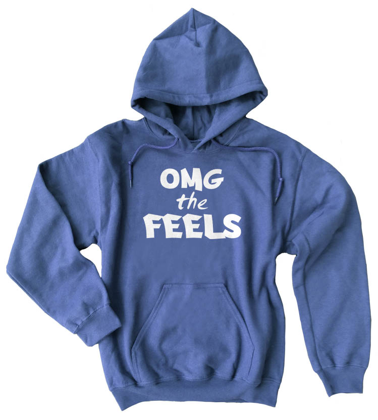 OMG the FEELS Pullover Hoodie - Heather Blue