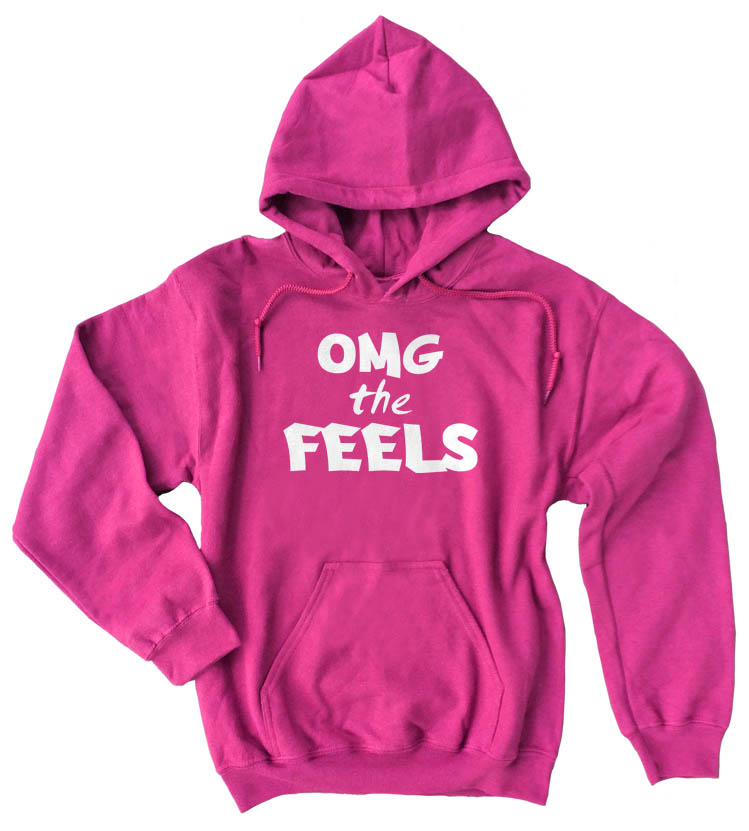 OMG the FEELS Pullover Hoodie - Hot Pink