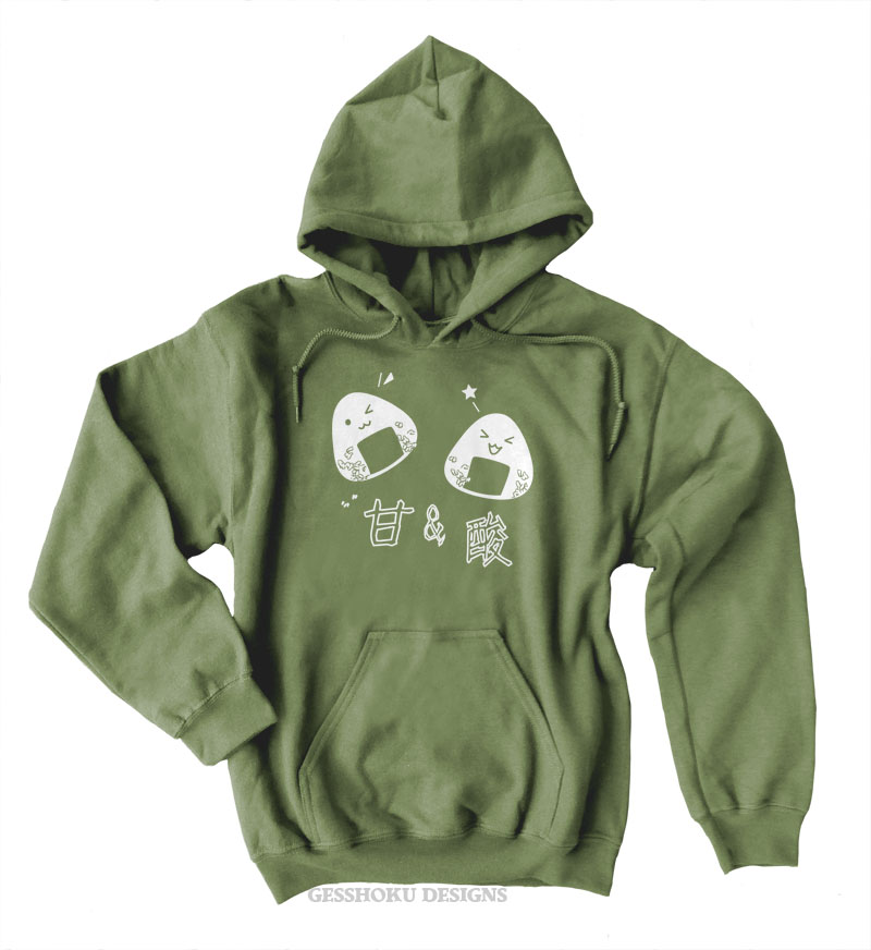 Onigiri Rice Ball Pullover Hoodie - Olive Green