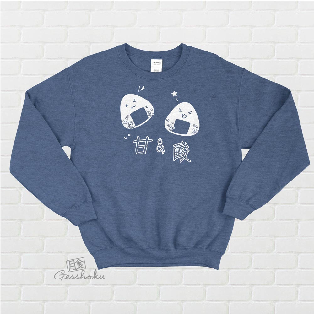 Onigiri Rice Balls Crewneck Sweatshirt - Heather Blue