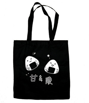 Onigiri Rice Ball Tote Bag (white/black) - Black