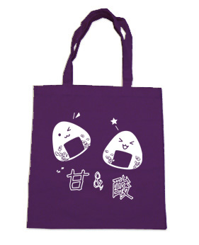 Onigiri Rice Ball Tote Bag (white/black) - Purple