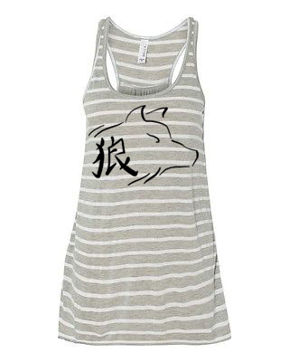 Ookami Wolf Flowy Tank Top - Grey/White Stripe
