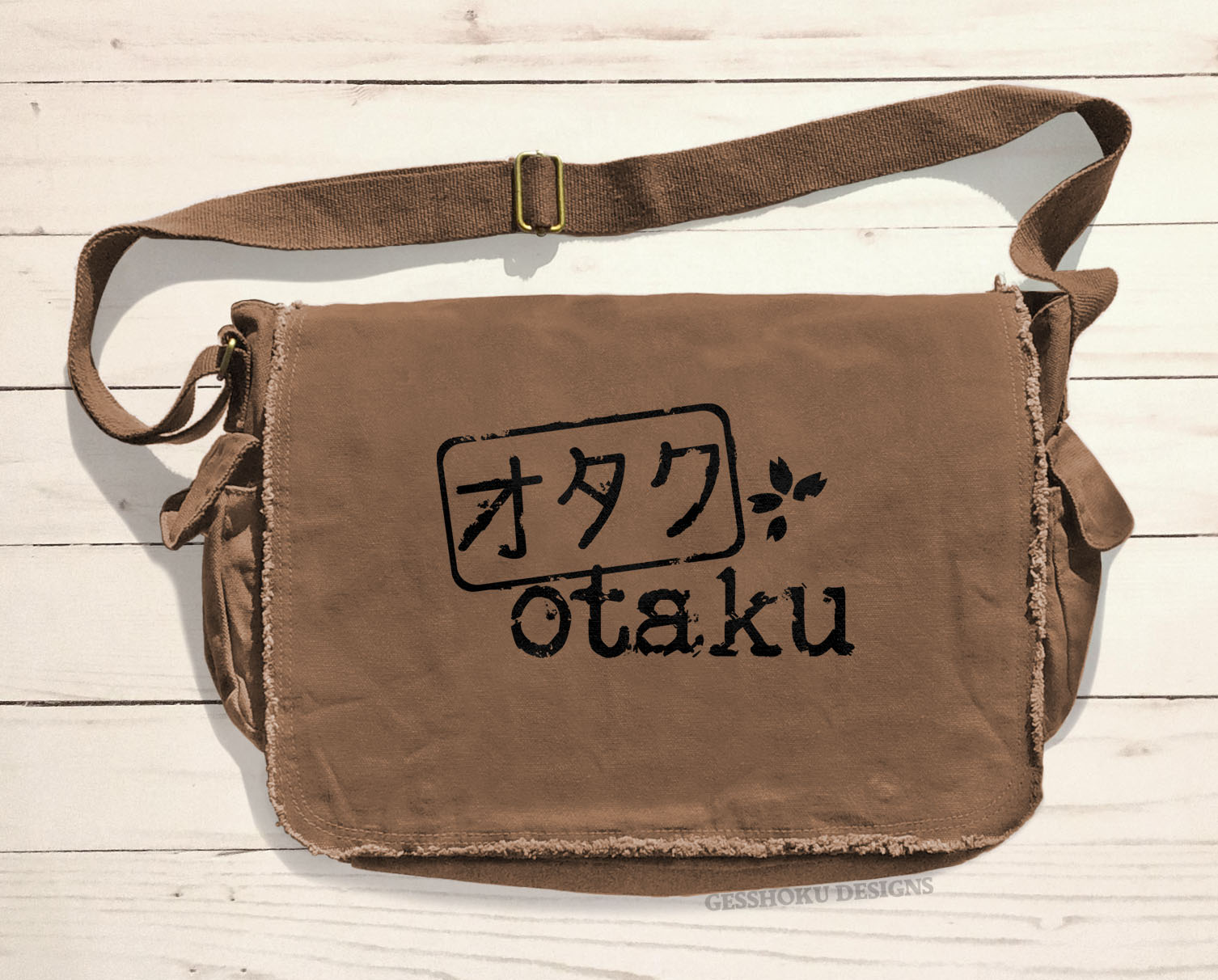Otaku Stamp Messenger Bag - Brown