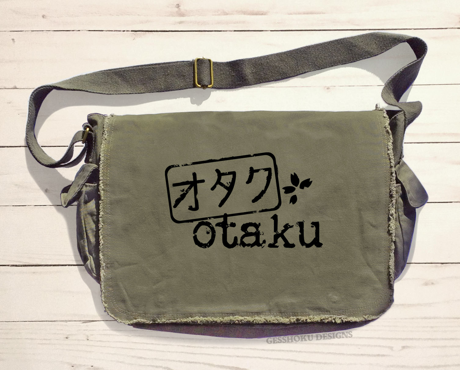 Otaku Stamp Messenger Bag - Khaki Green