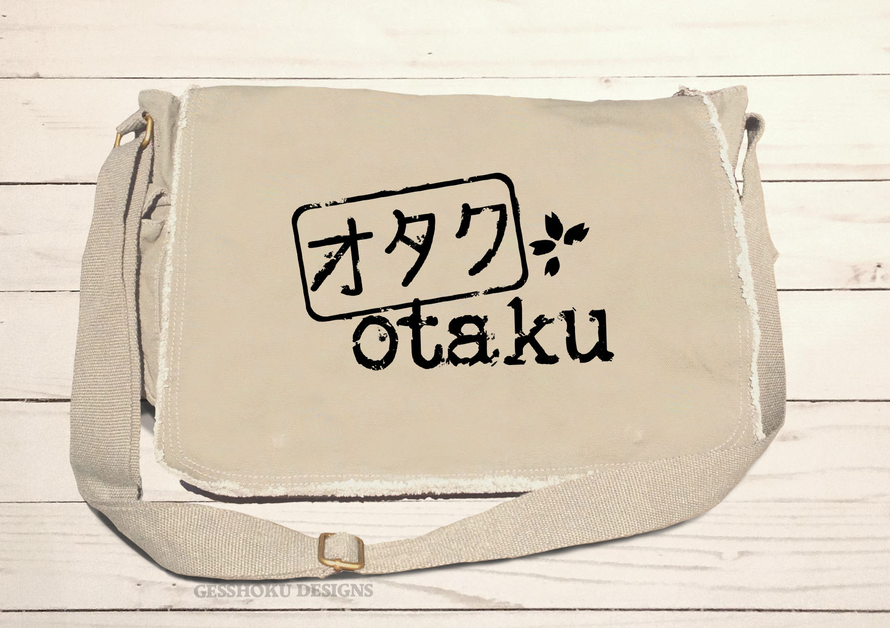Otaku Stamp Messenger Bag - Natural