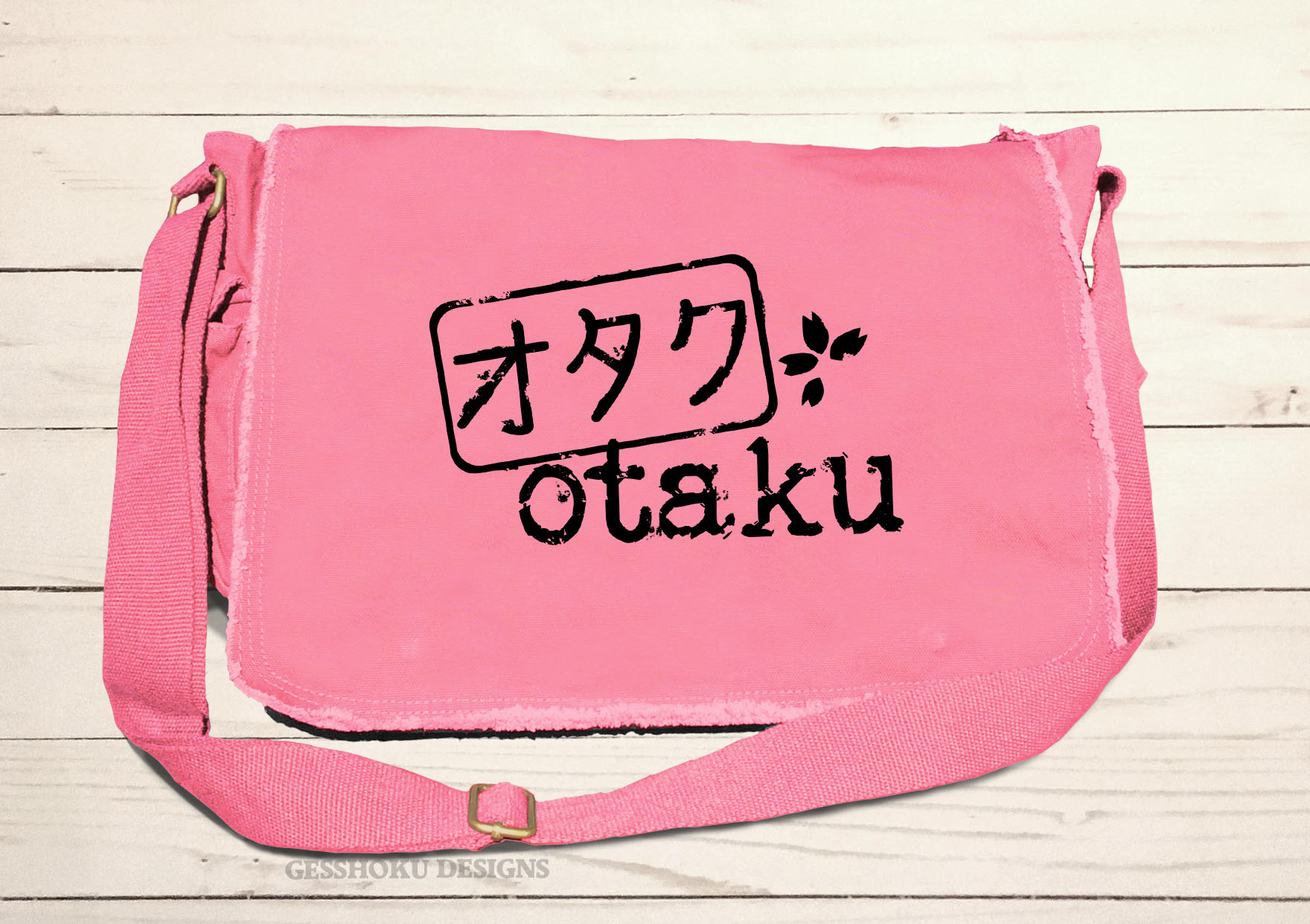 Otaku Stamp Messenger Bag - Pink