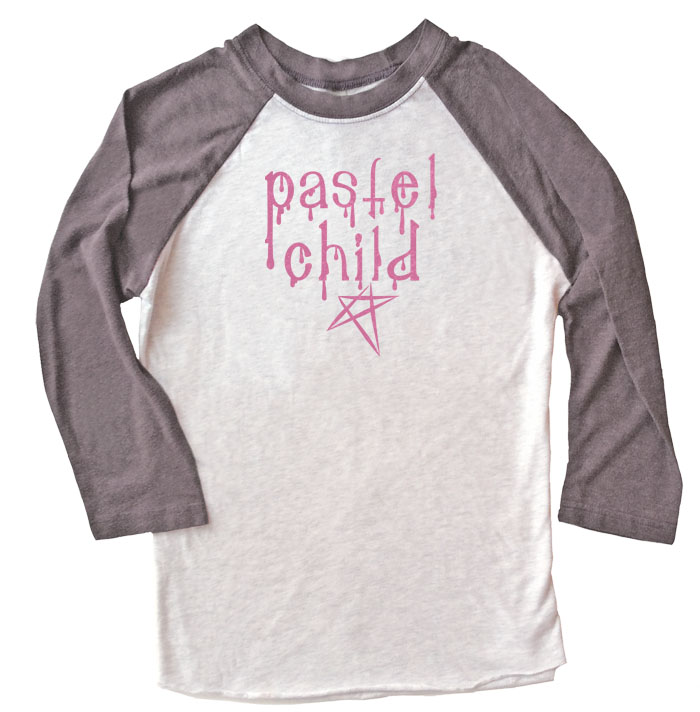 Pastel Child Raglan T-shirt 3/4 Sleeve - Grey/Black