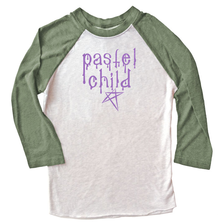 Pastel Child Raglan T-shirt 3/4 Sleeve - Olive/White