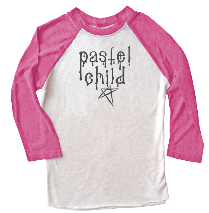 Pastel Child Raglan T-shirt 3/4 Sleeve - Pink/White