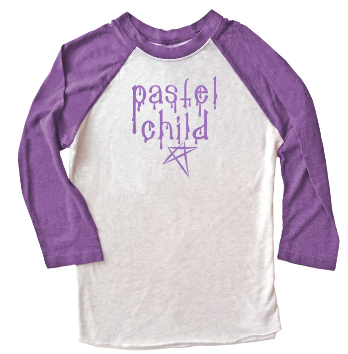 Pastel Child Raglan T-shirt 3/4 Sleeve - Purple/White