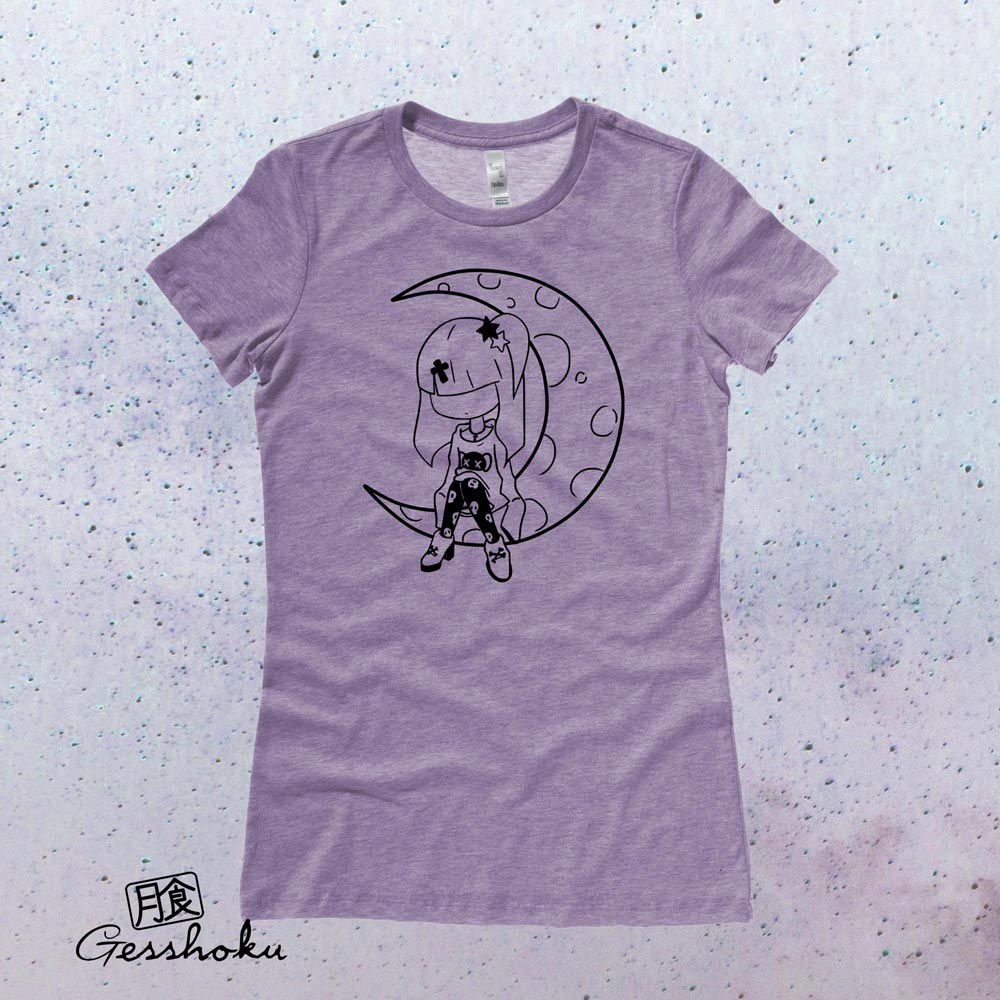 Pastel Moon Ladies T-shirt - Heather Purple