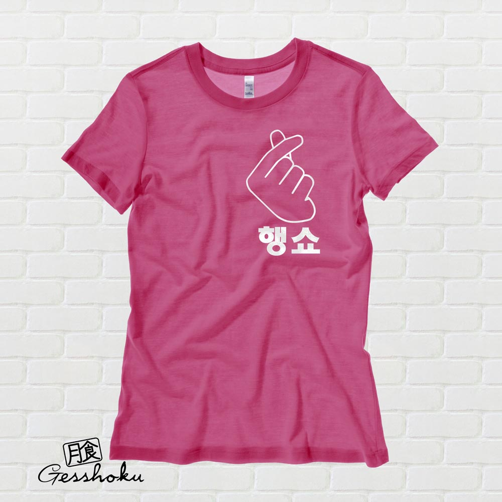 "Peace Out ""Haengsho"" Korean Ladies T-shirt - Hot Pink"